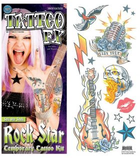 Rock star tatoveringer med 12 enkelt motiver med stjerner, fugl, mikrofon, lyn skjelett i brann og en gitar i brann.
