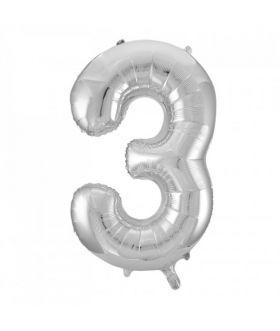 Folieballong sølv tall Nr. 3