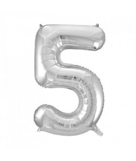 Folieballong sølv tall Nr. 5