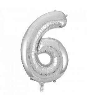 Folieballong sølv tall Nr. 6