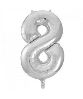 Folieballong sølv tall Nr. 8