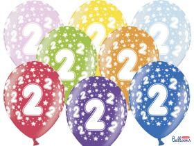 2-års ballonger i fargene rosa, gul, lys blå, grønn, orrange, rød, lilla og blå