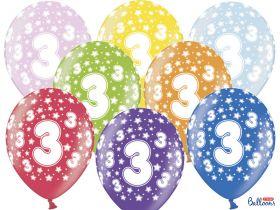 3-års ballonger i fargene rosa, gul, lys blå, grønn, orrange, rød, lilla og blå