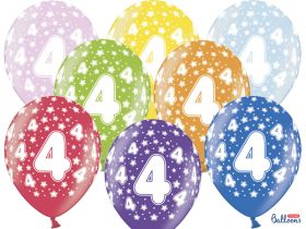 4-års ballonger i fargene rosa, gul, lys blå, grønn, orrange, rød, lilla og blå