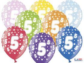 5-års ballonger i fargene rosa, gul, lys blå, grønn, orrange, rød, lilla og blå