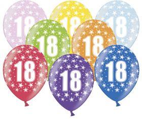 18-års ballonger i fargene rosa, gul, lys blå, grønn, orrange, rød, lilla og blå