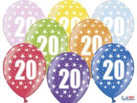 20-års ballonger i fargene rosa, gul, lys blå, grønn, orrange, rød, lilla og blå