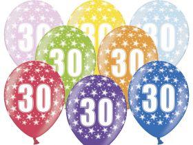 30-års ballonger i fargene rosa, gul, lys blå, grønn, orrange, rød, lilla og blå