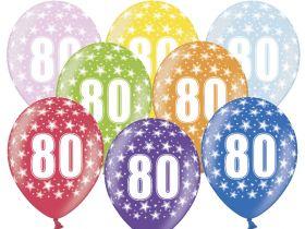 80-års ballonger i fargene rosa, gul, lys blå, grønn, orrange, rød, lilla og blå