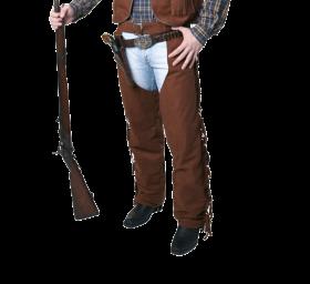 Bilde av en mann ikledd Cowboychaps Brun. Brune chaps med frynser.