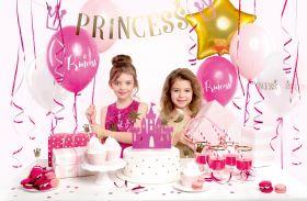 matchende bursdagssett i prinsesse tema i fargene rosa, hvit og gull
