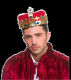 kongekrone med gullinramming både rundt hodet og over med rødt trekk over hodet og små diamantlignende, fargerike detaljer rundt om på det gulle av kronen