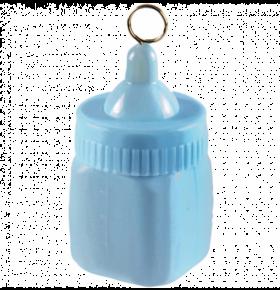 søt liten tåteflaske av en ballongvekt i babyblå farge som står oppreist med ringen til å feste ballongsnoren på toppen av tåteflasken