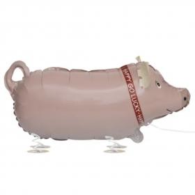 Folieballong gående gris, 62 cm