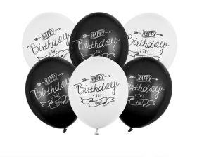 Ballonger, Happy Birthday, Sort/hvit 6 stk