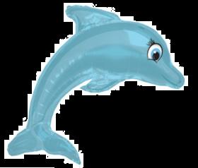 lyseblå delfin-ballong med hale, finner og blå, åpne øyne med et smil om munnen og øyevipper
