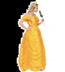 Prinsessekjole Beauty Queen. Kle deg som en skjønnhetsdronning kjolen til Belle fra DisneyfilmenBeauty and the Beast. Perfekt til prinsesse temafest, karneval.