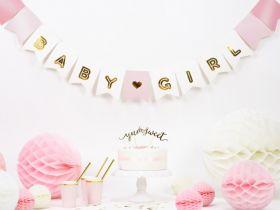 girlander med hvit og rosa bakgrunn med skinende gull skrift og et gullfarget hjerte i midten