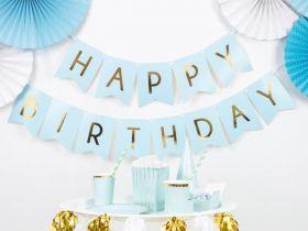 lys blå banner med teksten happy birthday I skinnende gullskrift