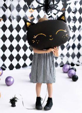 sort stor folieballong formet som en katt med gull detaljer av ansikt og ører
