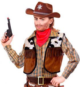 sort pistol mer flere cowboy detaljer, rød tut og et brunlig håndtak.