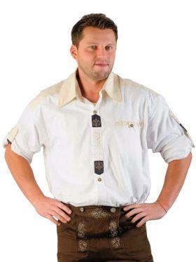 Bilde av en mann med hvit Tyrolerskjorte med kremhvite detaljer og flotte broderier.