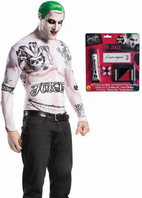 en hvit til gjennomsiktig genser full av tatoveringer, grønn parykk og et sminke kit til ansikt med tatoveringer