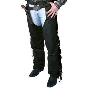 Bilde av en mann ikledd Cowboychaps sort. Sorte chaps med frynser.