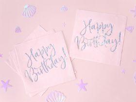 Servietter, Happy Birthday, Rosa