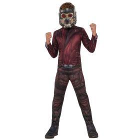 Bilde av en gutt i Star-Lord kostyme til barn. Jumpsuit med trykk av en rød jakke og brun bukse med støveltrekk. Star-Lord maske med strikk.
