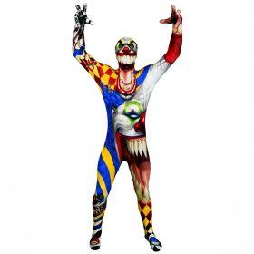 Bilde av Morphsuit The Clown, et tettsitende skummelt klovnekostyme til voksene