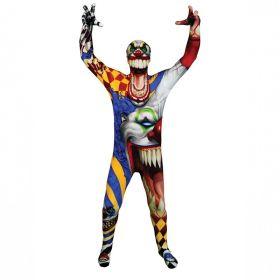 Bilde av Morphsuit The Clown til barn, et tettsitende skummelt klovnekostyme