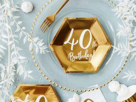 40år Bursdag Asjett Gull, 6 stk
