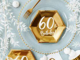60år Bursdag Asjett Gull, 6 stk