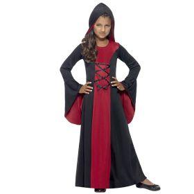 Bilde av en jente i Vampyrkjole til barn. Rød og sort kjole med vide sleng ermer og hette.