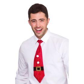 juleslips inspirert av den klassiske julenissem med rødt som bakgrunnsfage, to hvite prikker og med svart og gull belte