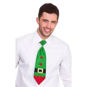 juleslips med alv som tema. slipset er i grønn med røde detaljer og med et klassisk sort og gull belte i ordentlig juleånd