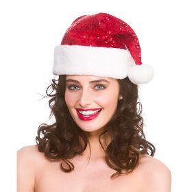nisselue rød med hvit dusk og brem, paljetter på det røde som gjør at luen glittrer julen inn
