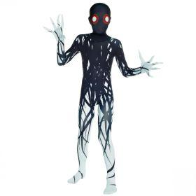 Bilde av et barn ikledd Zalgo Morphsuit. Heldekkende kostyme med motiv av et monster i sort og hvitt med lange fingre.